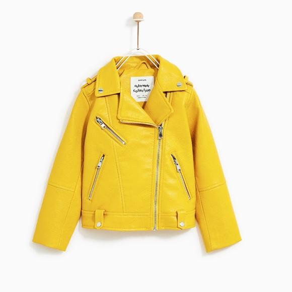 41da3389 Zara Jackets & Coats | Gorgeous Nwt Kids Faux Leather Yellow Jacket ...